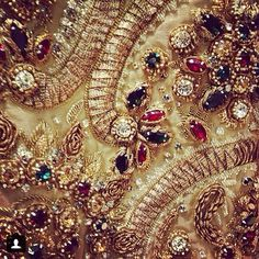 Dolce & Gabbana F2014 | embroidery, embellishments, jewels and gems, the fine hand stitching and all things sun gold. I could not be more in love.