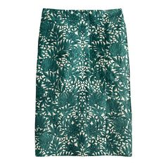 "J CREW | Collection pencil wrap skirt in photo lace in willoughby pine (green) | Silk/cotton.  Lined.  Dry clean | Sits above waist. Interior zip and snap closure | 24"" long. Falls below knee 