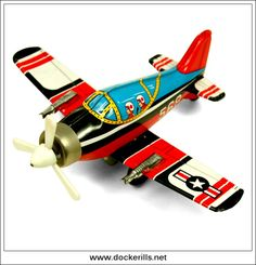 F-80 Aeroplane/Airplane, YONEYA (Yone/SY), Japan (Picture 1 of 2). Vintage Tin Litho Tin Plate Toy. Wind-Up / Clockwork Mechanism.