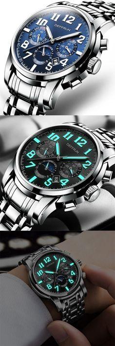 DEFFRUN Calendar Moon Phase Luminous Mechanical Luxury Watches Stainless Steel Men's Business Watch