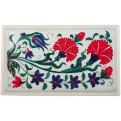 Carnation Iznik Ceramic Tray at Ark of Crafts under COLLECTIONS category is designed by Meliha Coşkun. Ceramic Tile Art, Ceramic Painting, Art Tiles, Pattern Drawing, Pattern Art, Turkish Pattern, Gold Leaf Art, Painted Plates, Ceramic Figures