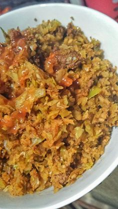 100g lean ground beef  2 C cabbage finely chopped into rice sized (I used a food processor)     1 C chicken broth or water     1/2 t cumin...