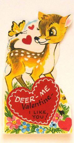 Vintage Valentine Card Deer Me Valentine I Like You by starmango