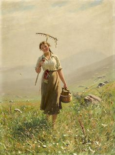Hans Dahl (Norwegian, 1849-1937) A young woman in the meadow 26 x 19 1/4in (66 x 49cm)