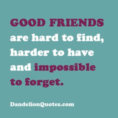 Good friends are hard to find!