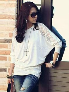 Camiseta de algodón con escote en V - Milanoo.com