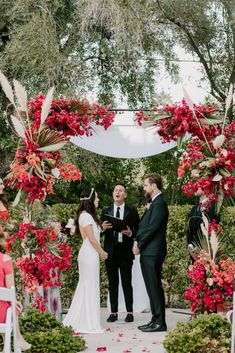 Ultra-Stylish Palm Springs Wedding with Modern Black Details – Frederick Loewe Estate – Mary Claire Roman 50  Not only did this couple transform the midcentury Frederick Loewe Estate into a sleek, mod space filled with black details & punchy fuchsia bougainvillea, but the bride's four different wedding looks gives you another reason to book your photographer for extra sessions!  #bridalmusings #bmloves #ido #modern #modernwedding #sleek #blacktie #palmsprings #weekend #wedding #bougainvillea Wedding Ceremony, Our Wedding, Destination Wedding, Wedding Weekend, Spring Wedding, Roman 50, Wedding Officiant, Chuppah, Bridal Musings