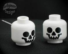 Smiley Skeleton Head Stud Earrings  made with LEGO by Gr0glmann, $8.99