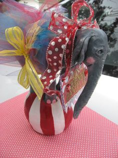 Circus Wedding, Cake Topper/ table topper, Baby Circus Elephant, keepsake,up to 3 accessories included.Customizable your way