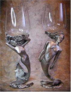 Mermaid and Merman Pewter and Czech Crystal Wine Goblets Real Mermaids, Mermaids And Mermen, Mermaid Board, Mermaid Fairy, Mermaid Room, Sea Siren, Mermaid Kisses, Mermaid Jewelry, Merfolk