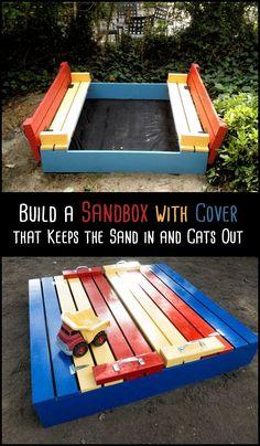 DIY sandbox with lid – - DIY Gartendekor Dollar speichert Natural Playground, Backyard Playground, Backyard For Kids, Children Playground, Backyard Ideas, Playground Design, Outdoor Ideas, Outdoor Decor, Sandbox With Lid