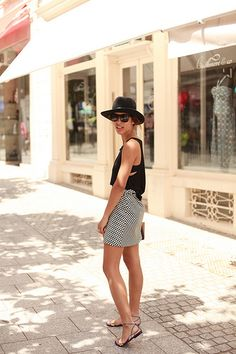 Feminine. Black hat. Shades.  Love this look.