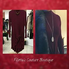 Maroon high front, low back, front gathered dress. Very cute dress you can dress up or down any day of the week. Call the boutique and place your order. www.filettas.com #coloradoboutique #localboutique #towncenterofauroramall #auroramall #localretail #ladiesfashion #ladiesclothing #luxuryoutfit #designerfashion #maroondress #dresses