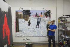 Kim Dorland (and son) in his Toronto studio