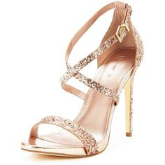 V By Very Caprice Glitter Mini Platform Minimal Sandal ($31) ❤ liked on Polyvore featuring shoes, sandals, miniature shoes, rose gold glitter shoes, stilettos shoes, glitter sandals and heeled sandals