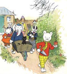 Rupert Bear and friends go gardening Bear Pictures, Cute Pictures, Winnie The Poo, Homemade Christmas Cards, English Artists, Bear Art, Feeling Special, A Comics, Vintage Dolls