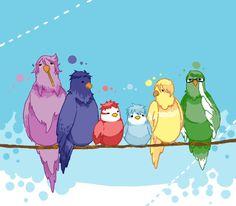Kuroko no Basket - The Generation of Miracles as birds - Atsushi Murasakibara, Daiki Aomine, Seijuurou Akashi, Tetsuya Kuroko, Ryouta Kise, & Shintarou Midorima