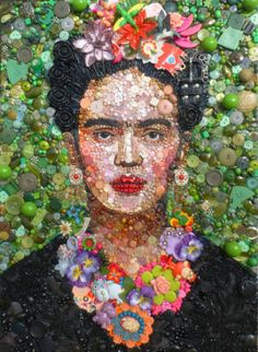 """Frida Kahlo by Jane Perkins. Created with buttons. From the website: """"I am a 're-maker', taking inspiration from found objects and turning them into something new."""""""