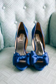 Satin Blue Badgley Mischka Bridal Shoes   Nikki Santerre Photography   TheKnot.com