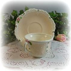 Dainty Tea Cup and Saucer Peach - Custom Ceramic Teaware - Roses And Teacups  - 1
