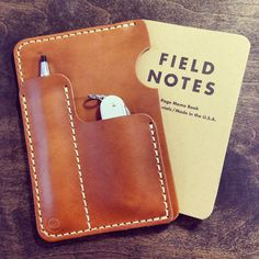 Horween Leather Sleeve for Field Notes or Moleksine with Pen/Card Slot - Koch Leather $55
