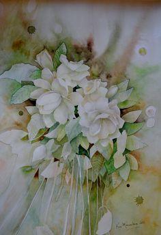 Jazmines en verdes, y dorados. Flower Watercolor, Watercolour Painting, Doodle Drawings, Inspiring Art, Watercolours, Still Life, Art Gallery, Doodles, Beautiful