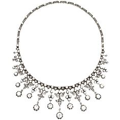 Preowned Impressive Victorian Diamond Gold Silver Platinum Necklace (3.950.825 RUB) ❤ liked on Polyvore featuring jewelry, necklaces, multiple, platinum diamond necklace, fringe necklace, gold diamond necklace, silver diamond necklace and silver necklace