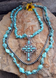 Cowgirl Bling TURQUOISE CROSS 3 Strand NECKLACE Nuggets Gypsy Boho Southwest #Unbranded #necklace