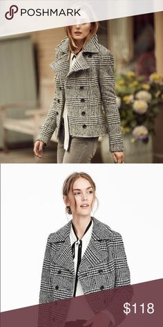 🎉 Banana Republic Coat - Seen on Olivia Palermo🎉 👯 Super chic prince of wales print.  Waist length coat.  Size 4, fits like a size Small. Very cute as seen on Olivia Palermo! 👯 Banana Republic Jackets & Coats