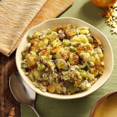 Southern Corn Bread Dressing Recipe from Taste of Home -- This recipe makes a rather large dish. I came from a very poor family from Mississippi and learned to stretch the food we had.  –Margaret E. Kendall, McConnelsville, Ohio  #stuffing  #cornbread