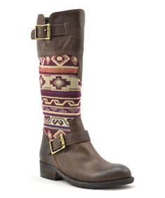 Loving this Brown & Red Deal Boot on #zulily! #zulilyfinds SBICCA