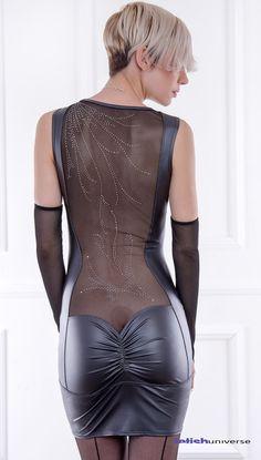Maiwenn Kleid mit tollem Strassdekor am Rückendekoltee - Französisches Designermodell aus Wetlook und Tüll - Fetishuniverse