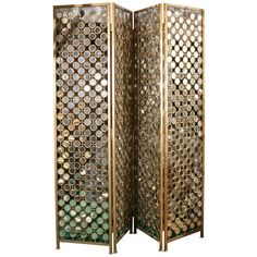 Pair of Gilt Metal Mirror Folding Screen ❤ liked on Polyvore featuring home, home decor, panel screens, screens, backgrounds, furniture, room dividers, biombos, metal screen and metal folding screen