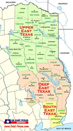 Map of East Texas counties and cities Texas Roadtrip, Texas Travel, Longview Texas, County Seat, Texas History, Red River, Beach Trip, Weekend Getaways, Family Travel