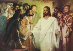 02-The women have seen Jesus come back to life, but none of the apostles will believe them.  Jesus has to convince them himself.  While they are behind locked doors, Jesus appears out of thin air.  They are dumbfounded.  Why hadn't they believed?  Can they make it up to Jesus for not believing?