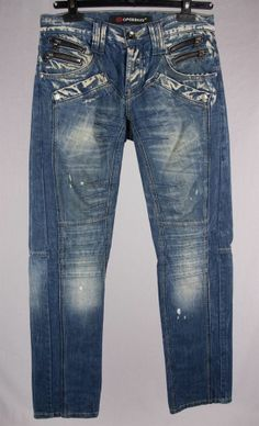 CIPO & BAXX Mens Jeans 29 x 32 Size S Blue Button Fly C-702 Funky Club