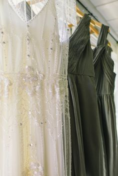 Beautiful gray bridesmaid dresses.