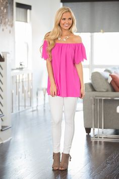 This sweet scalloped blouse is everything you've been dreaming of - and more! We adore the stunning fuchsia color - it's simply the sweetest look for spring!The lightweight and slightly textured mate