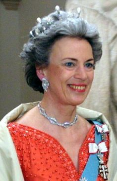 HRH Princess Benedikte of Denmark wearing the star and pearl tiara she inherited from her mother Queen Ingrid, the diamond earrings she also inherited from her mother, and the necklace created with half of her grandmother Queen Alexandrine's sautoir (the necklace made with the other half is property of her sister Queen Anne Marie of Greece).