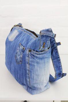 Denim Bag Gift for Her Everyday Bag Denim Handbags, Denim Purse, Denim Ideas, Denim Shoulder Bags, Recycled Denim, Simple Bags, Everyday Bag, Shopper, Gifts For Her