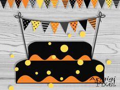 Halloween Cake Bunting Printable Mini Banner Black by ArigigiPixel, $3.50