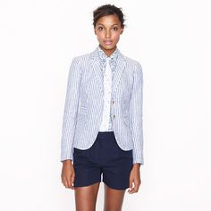 Awesome with white denim and a graphic tee...Schoolboy blazer in stripe linen