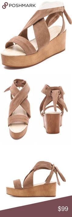 """Madison Harding Janeane Suede Sandals Worn one time and in excellent condition. No signs of wear except ever so slightly on soles. Soft suede. Color is tan, but in my opinion they're more of a taupe. Thick ankle tie, ties in back. Heel height is 2.5"""" and platform height is 1.5."""" Wood platform with rubber sole. Purchased for full price from Shopbop. Madison Harding Shoes Sandals"""