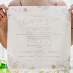 This couple had custom handkerchiefs designed to include their wedding program. These hankies were displayed at the ceremony venue for guests needing to dab happy tears.