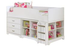 White Lulu Twin Loft Bed with Storage and Bookcase by Ashley Furniture
