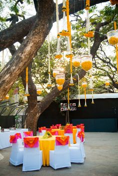 White, yellow, pink wedding decor. Indian wedding decor.