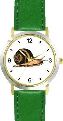 Snail No.1 Animal - WATCHBUDDY® DELUXE TWO-TONE THEME WATCH - Arabic Numbers - Green Leather Strap-Size-Children's Size-Small ( Boy's Size & Girl's Size ) WatchBuddy. $49.95