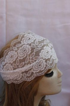 White Stretchy Lace headband Turban Headband Twist by SULTANHAIR, $8.00