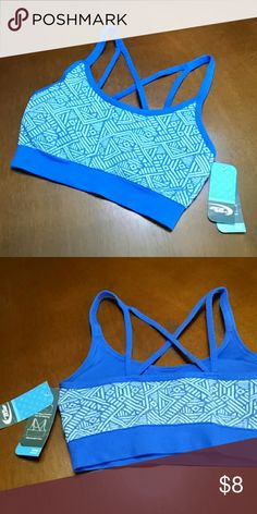NWT Sports Bra Blue print sports bra with crisscross straps and removable cups. Brand new never worn in perfect condition. mta sport Intimates & Sleepwear Bras