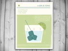 GIN AND TONIC Art Print - Retro Food and Drink Poster -  Vintage Style Graphic Art - Mid Century Modern Design Poster - Minimalist Art Print by theNATIONALanthem on Etsy